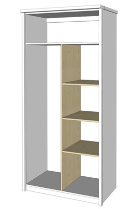 Dřevěný nábytek Gazel, dělící příčka do šatní skříně.