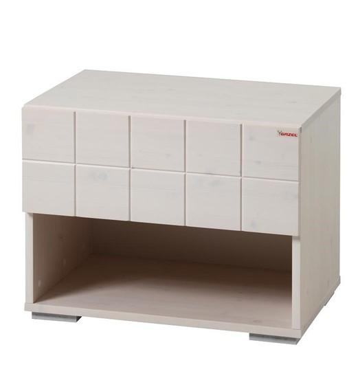 Dřevěný noční stolek k bílým postelím Gazel.