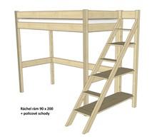 Dřevěná patrová postel s policovými schody