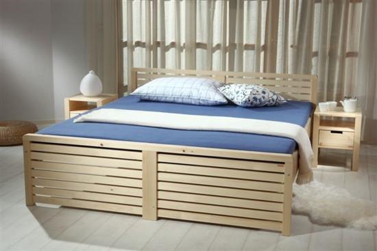 Postel z masivu, dvoulůžko, vysoká postel Gazel